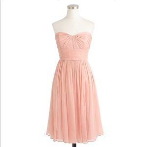 J Crew Marbella Strapless Dress Silk Rose Pink
